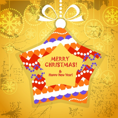 Vintage style greeting card with ornamented christmas bauble on yellow   Vector