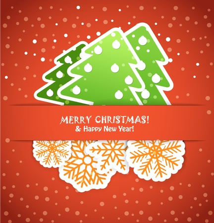 Happy new year greeting card with paper flakes and christmas trees Vector