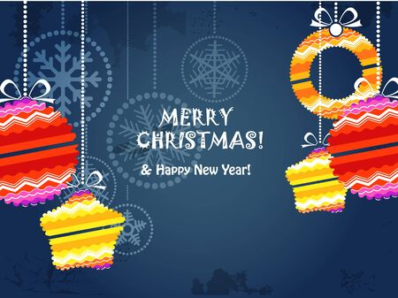 Christmas background with color christmas baubles Vector