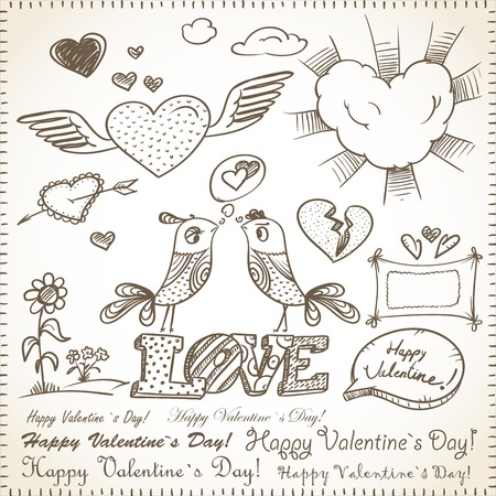 hand drawn wings: 14 febbraio raccolta. Happy Valentine `s Day elementi. Vettoriali
