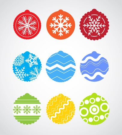 Color Christmas baubles collection Vector