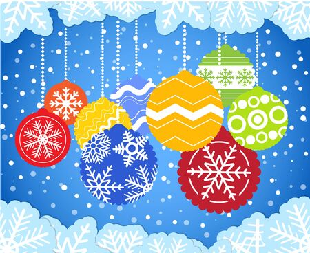 Christmas background with color christmas baubles Stock Vector - 11661042