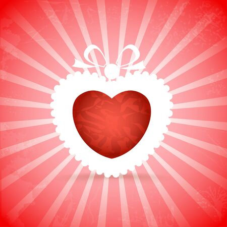 Red heart on red background with rays Vector