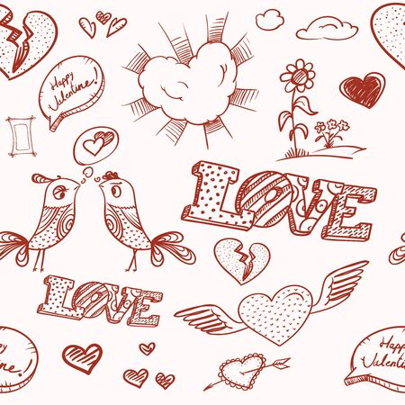 Happy Valentine`s Day elements seamless background  Vector