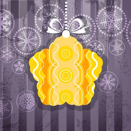 Vintage style greeting card with ornamented christmas bauble  Vector