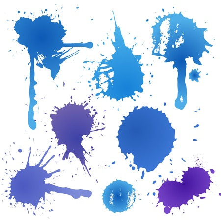 paint drip: Blue ink blot collection isolated on white background Illustration