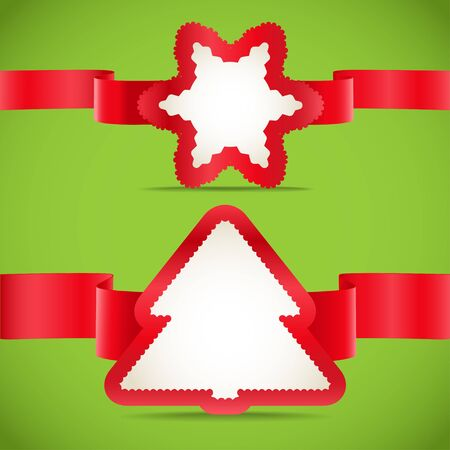 Seasonal greeting cards with red ribbons set Vector