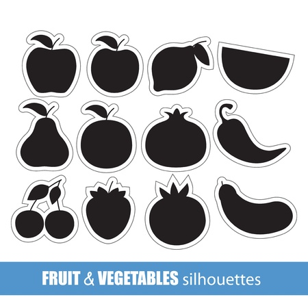 alphabet silhouette: Vector fruit and vegetables silhouettes clip-art