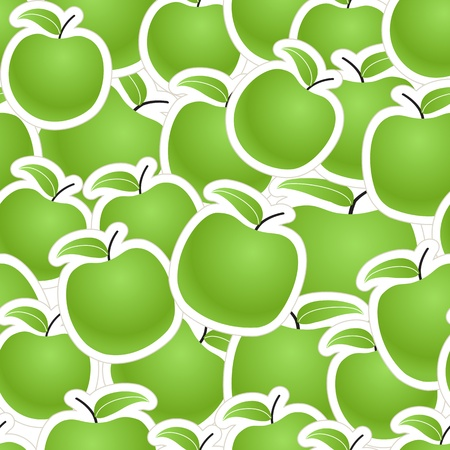 Fresh green apples seamless background Vector