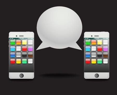 Modern phoneò with speech cloud. Conversation Stock Vector - 11793791