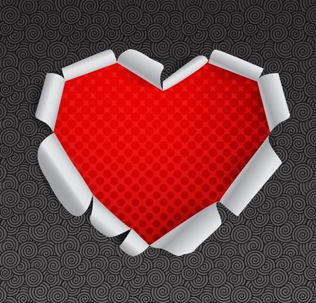 Valentine heart of torn paper Vector