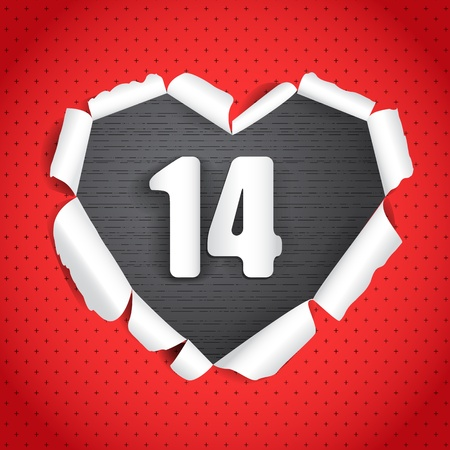 fourteen: Valentine heart of torn paper Illustration