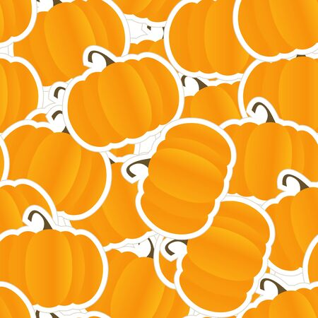 Orange pumpkin seamless background Vector