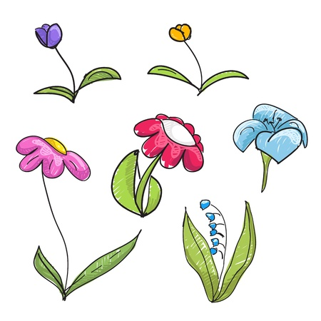 Children`s style hand-drawn flowers collection Vector