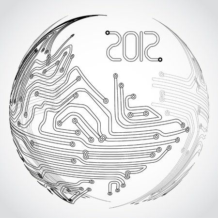 Abstract ball of metro scheme on grey background Vector