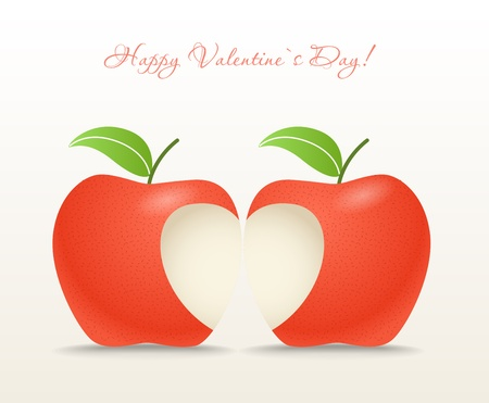 apple cartoon: Two apples with abstract heart Illustration