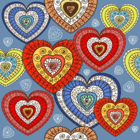 ornamented: Ornamented color hearts seamless background Illustration