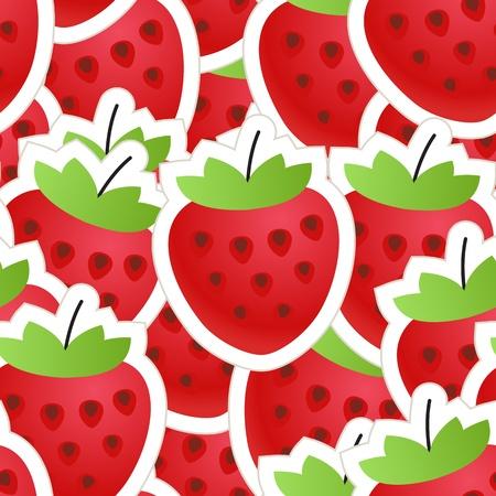 strawberry cartoon: Fresh red strawberry seamless background Illustration