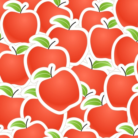 apple cartoon: Red apples seamless background Illustration