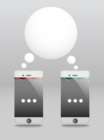 Modern phones with speech cloud. Conversation  Vector