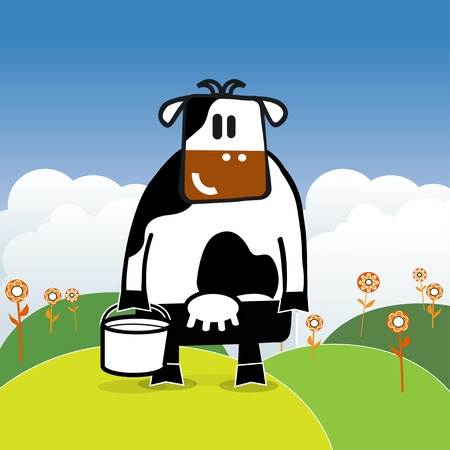 Illustration of cartoon cow with bucket of milk Vector