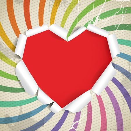 hartje cartoon: Valentine hart van gescheurd papier op vintage achtergrond Stock Illustratie