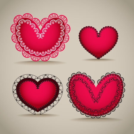 Ornamentel red Valentine`s day hearts Vector