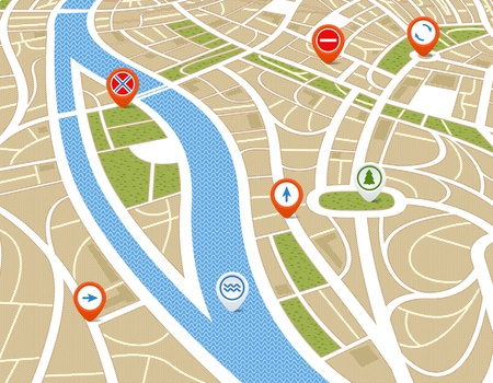 Perspective de fond abstrait avec carte de la ville symboles