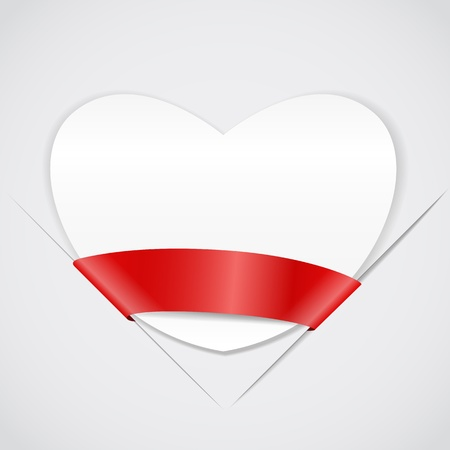wright: White paper heart with red ribbon