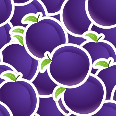 Plums seamless background Stock Vector - 12429008