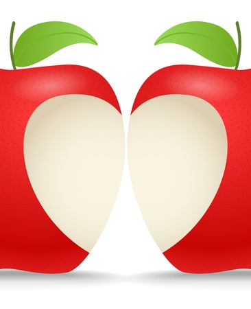 bite apple: Two apples with abstract heart Illustration