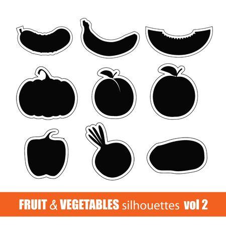 pepino caricatura: frutas y verduras siluetas clip-art