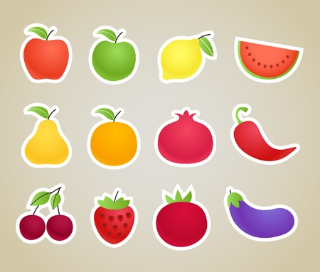 frutas y verduras siluetas clip-art Foto de archivo - 12429039