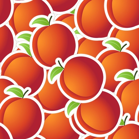 Red peaches seamless background Vector