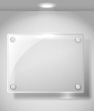 exposition art: Place plaque de verre de la publicit� avec une lignt place. Placez votre texte � ce sujet