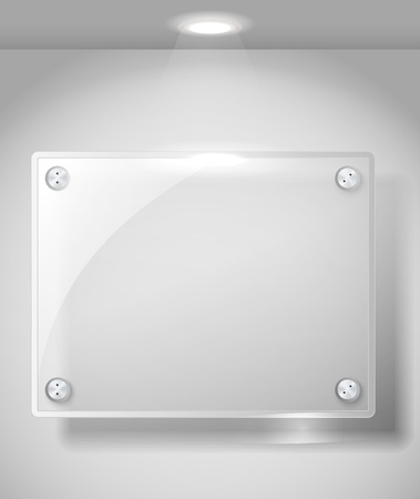Square advertising glass board with a spot lignt. Place your text on it  Vector