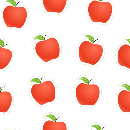 ripened: Red apples seamless background Illustration
