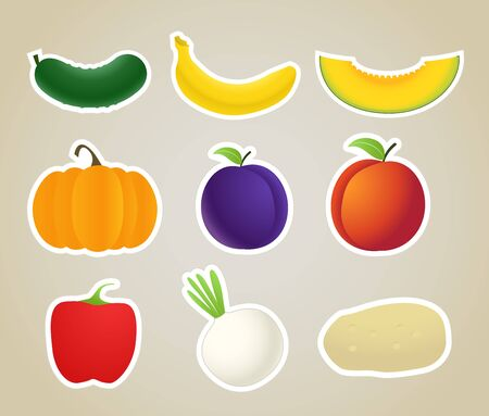 fruit and vegetables silhouettes collection Vector