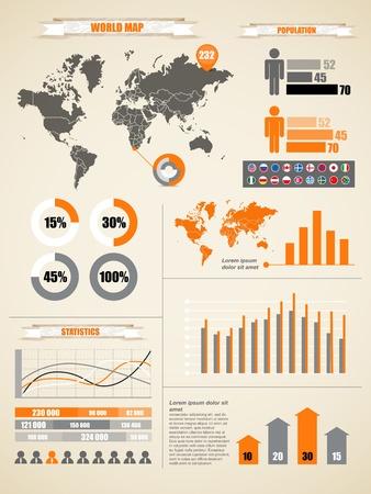 web survey: Infograf�a. Tierra del mapa y gr�ficos diferentes Vectores