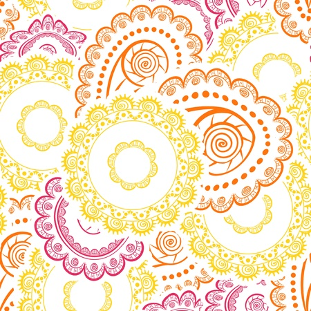 floral decoration: Abstract seamless background of retro flowers Illustration