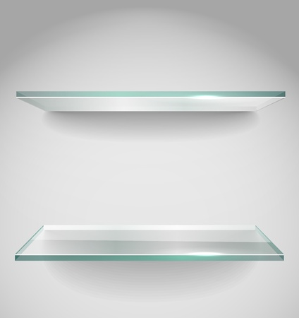 Two Empty advertising glass shelves with spot lignt