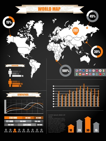 Infographics. Earth map and different charts on black Illustration
