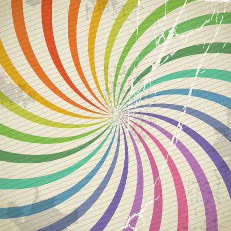 Vintage color spiral background with blots and scratches  Vector