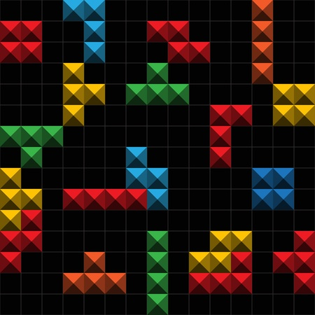 tetris: Abstract background o� color game figures