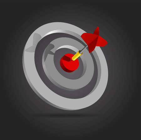 Red dart in the center of the target Vector