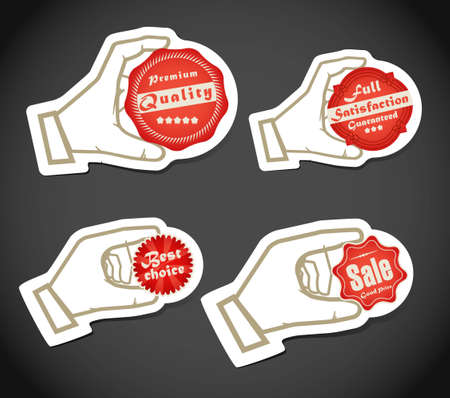 Shopping colorful discount labels in a hand Vector