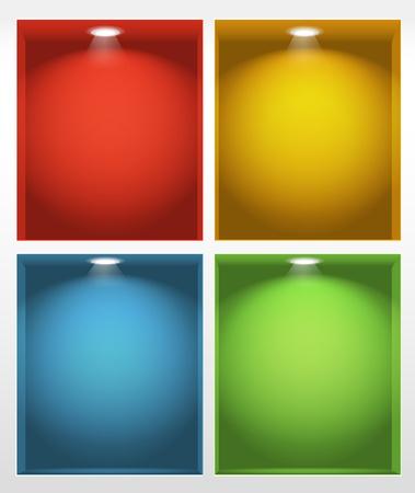four objects: Illuminated empty book shelves illustration Illustration