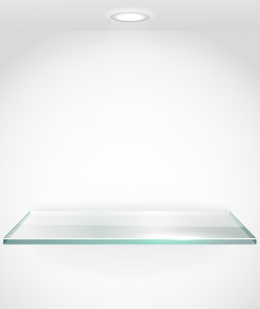 Square advertising glass board with a spot lignt  Place your text on it Vector