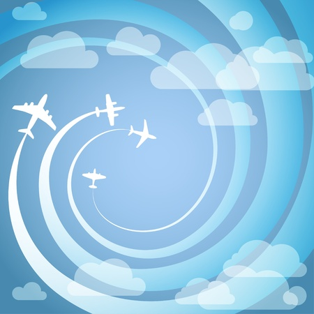 Airplanes with the spiral trajectories Illustration