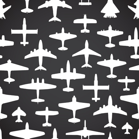 interceptor: Transport and navy airplanes seamless background